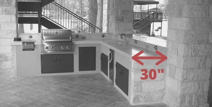 what is the depth of outdoor kitchen counter