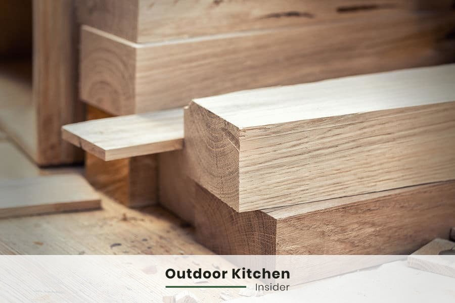pressure-treated pine as framing for outdoor kitchen