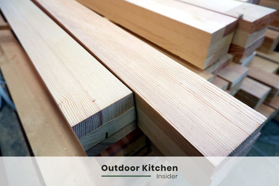 glulam as a construction material for an outdoor kitchen