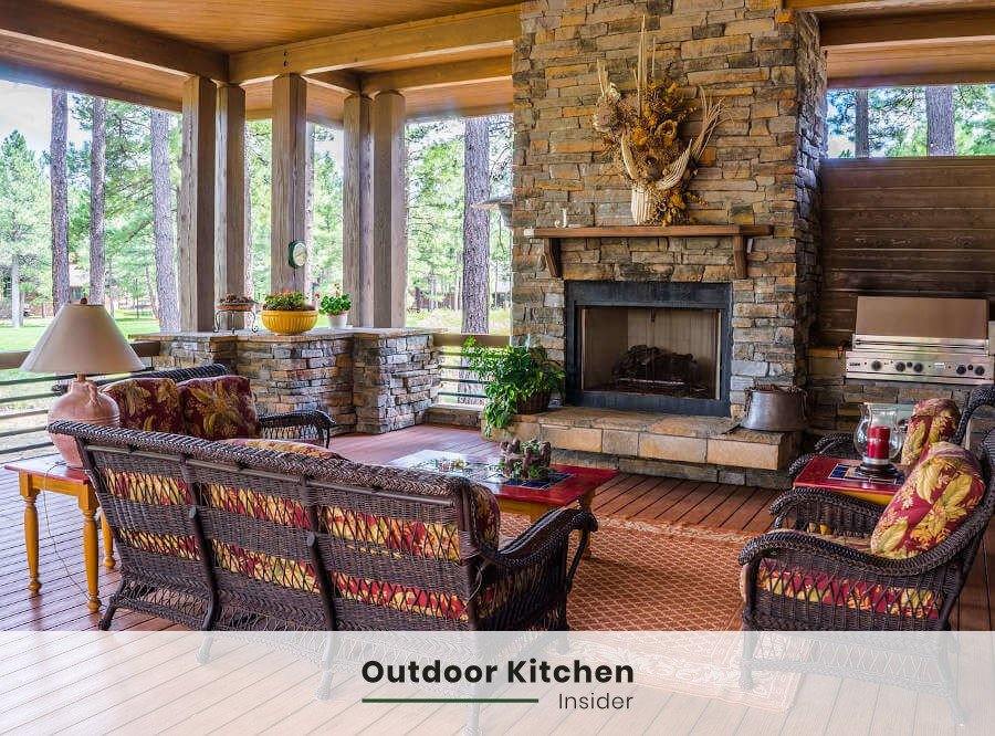 An outdoor room with a small outdoor kitchen and a fireplace
