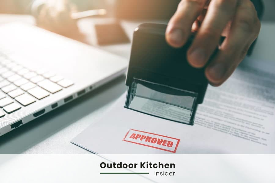 outdoor kitchen on a deck permits