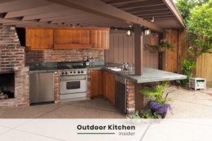 wooden outdoor kitchen ideas under roof