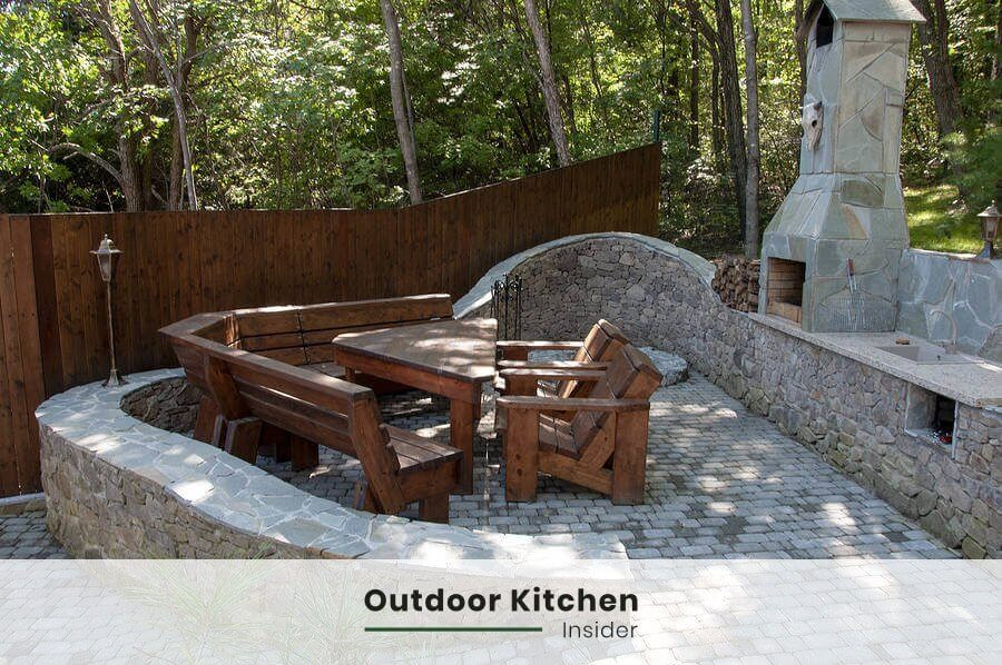 country outdoor kitchen ideas stone wood