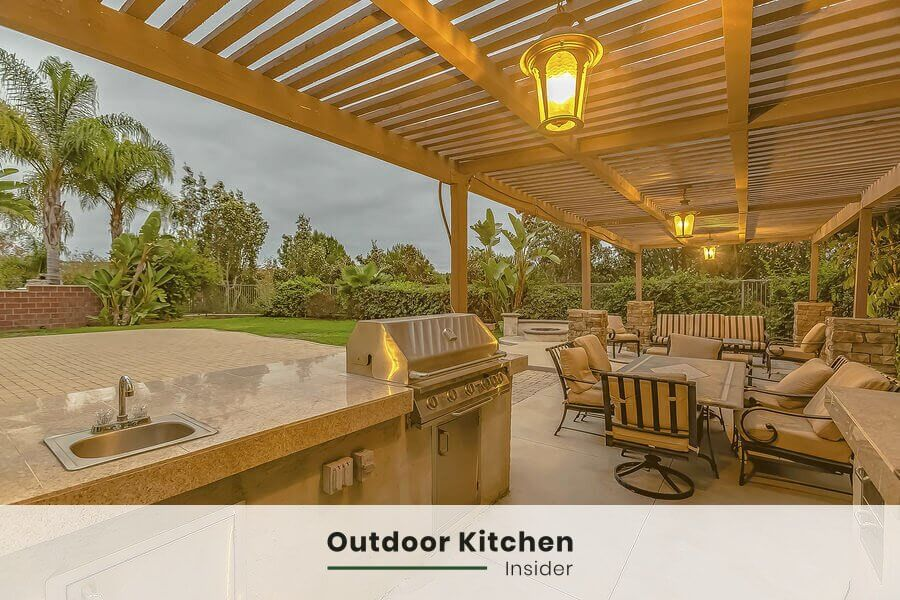 upscale outdoor kitchen dining area lighting ideas