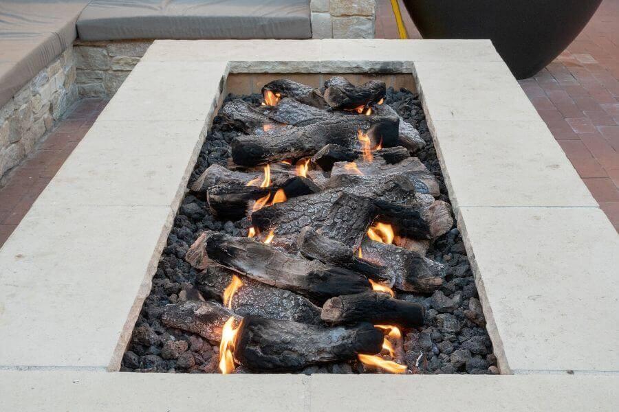modern outdoor kitchen fire pit