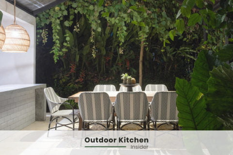 modern outdoor kitchen ideas dining lighting