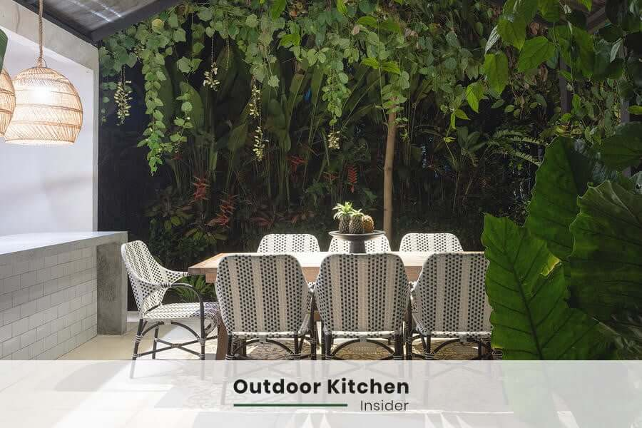 ligthing for modern outdoor kitchen