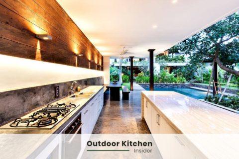 modern outdoor kitchen ideas along the wall