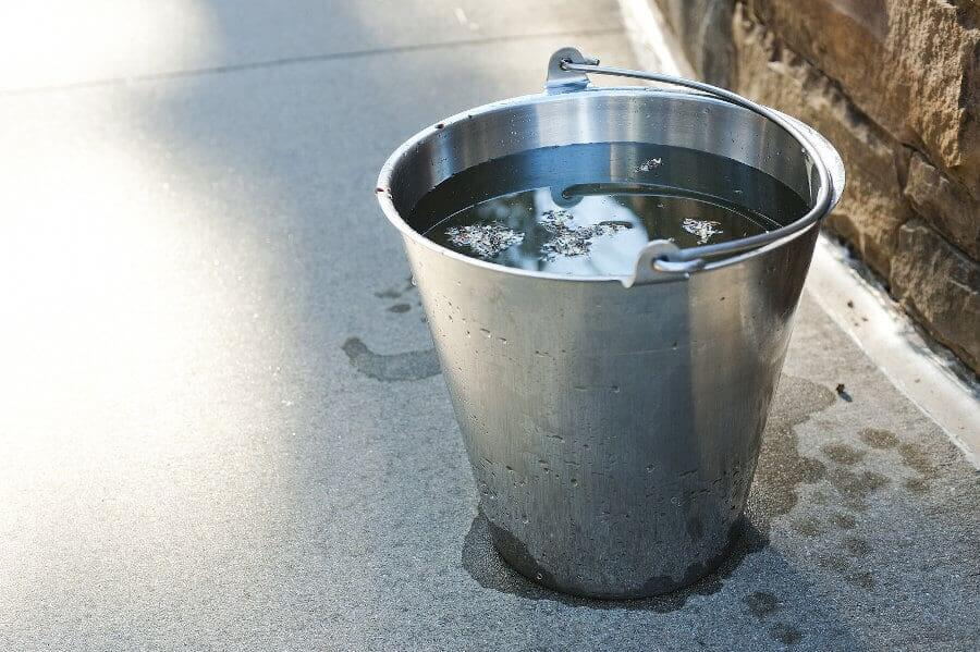 Where to drain an outdoor kitchen sink? Option 1: A bucket
