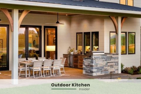 fancy outdoor kitchen ideas against the wall