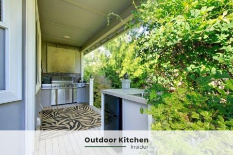 small outdoor kitchen on a deck