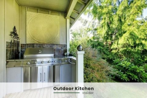 outdoor kitchen on a narrow patio