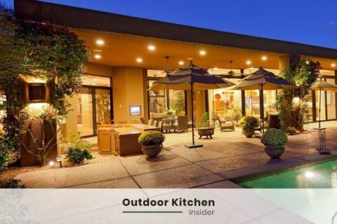 Grand outdoor kitchen recessed lights
