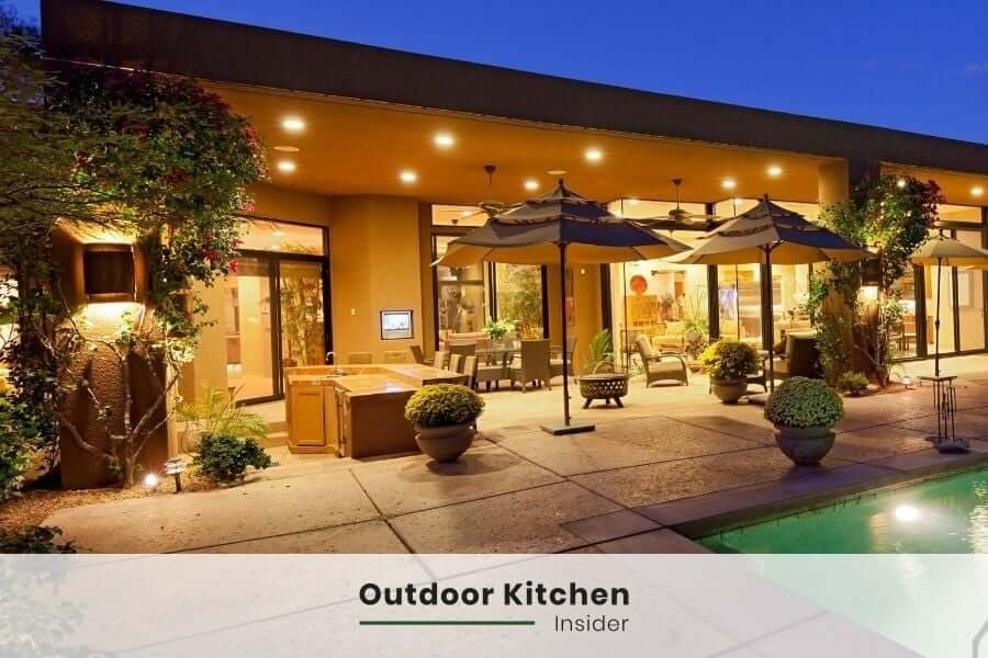 sophisticated outdoor kitchen lighting design