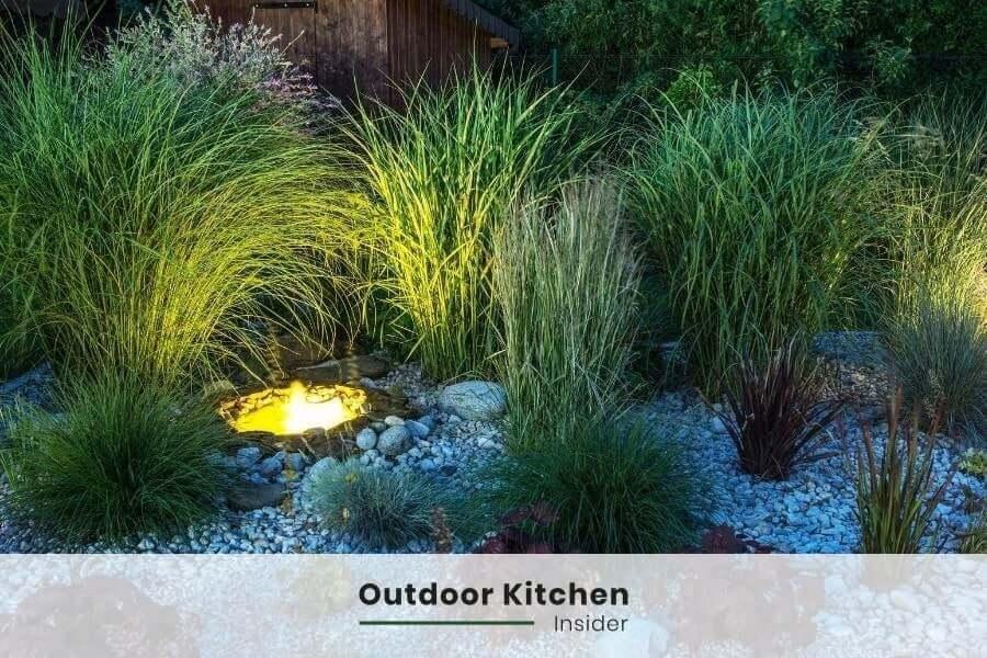 outdoor kitchen area landscape lights