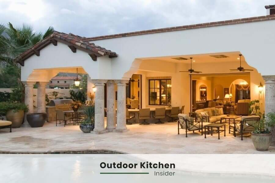 Outdoor kitchen lighting: A fan