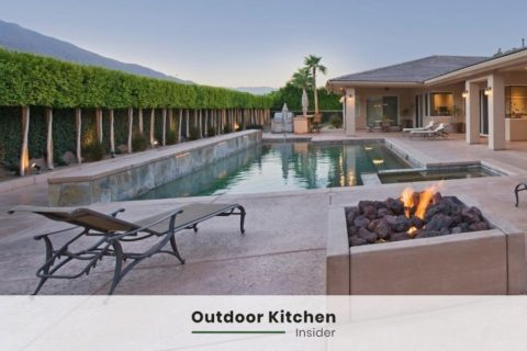 outdoor kitchen ideas by pool fire pit