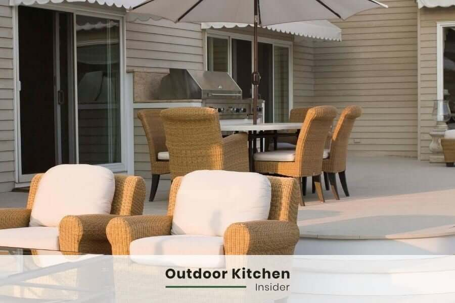 Small outdoor kitchen on a large patio