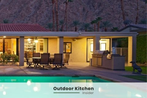 by the pool outdoor kitchen recessed lights