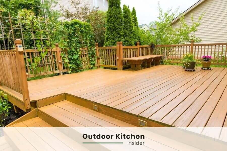 outdoor grill station on a deck