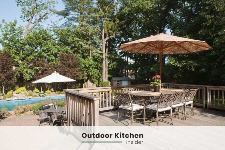 outdoor kitchen on a deck dining area