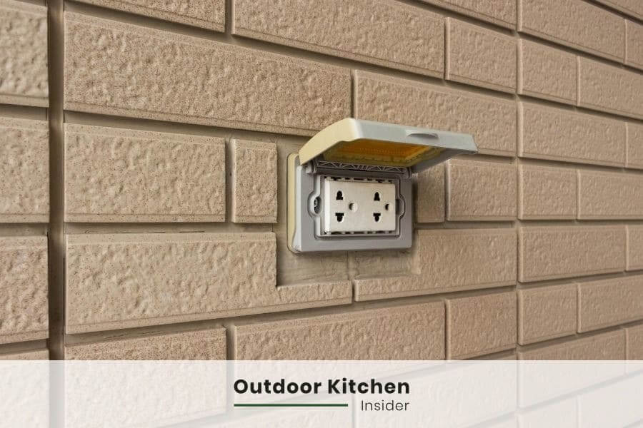 outdoor kitchen on a deck utility lines