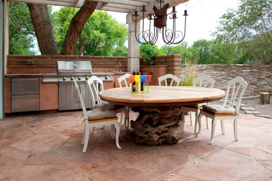 country outdoor kitchen on the patio