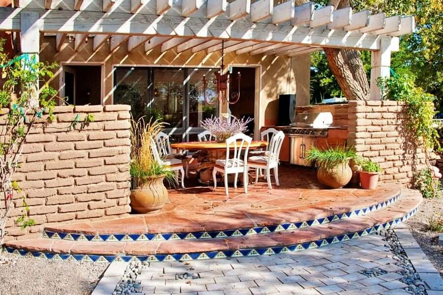 patio outdoor kitchen covered with pergola