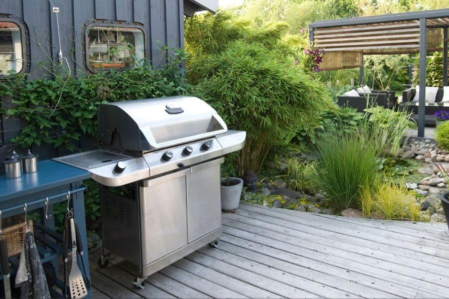 grill station with a cart