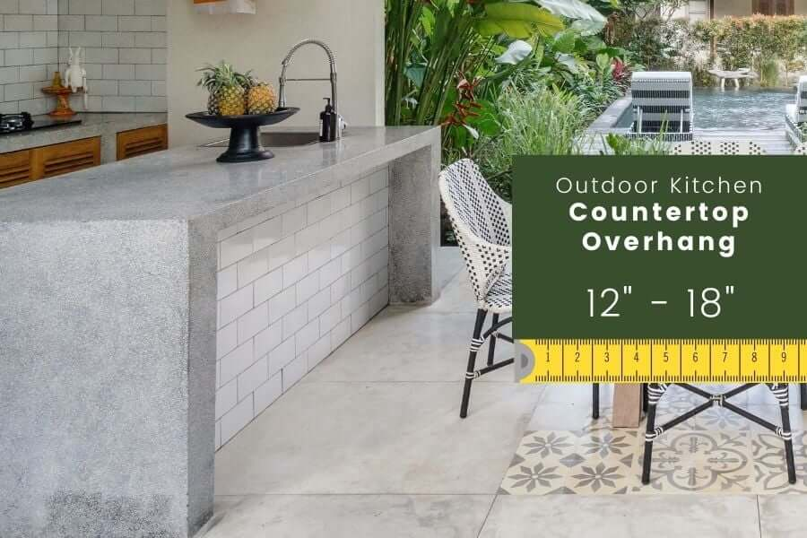 Outdoor kitchen dimensions: countertop overhang (cantilever)