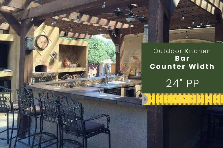 Outdoor kitchen dimensions: bar counter width
