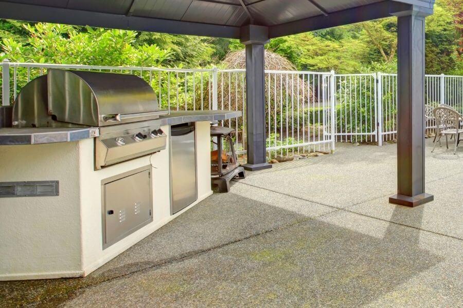 Small outdoor kitchen at pool gazebo