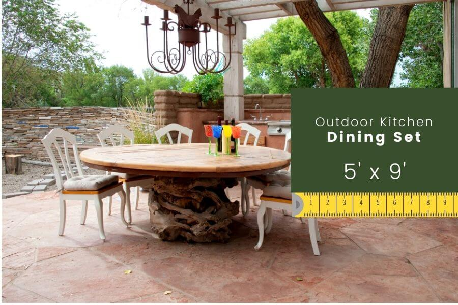 Outdoor kitchen dimensions: dining set width