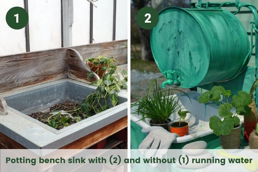 Outdoor sink ideas: Potting bench sink with (2) and without (1) running water