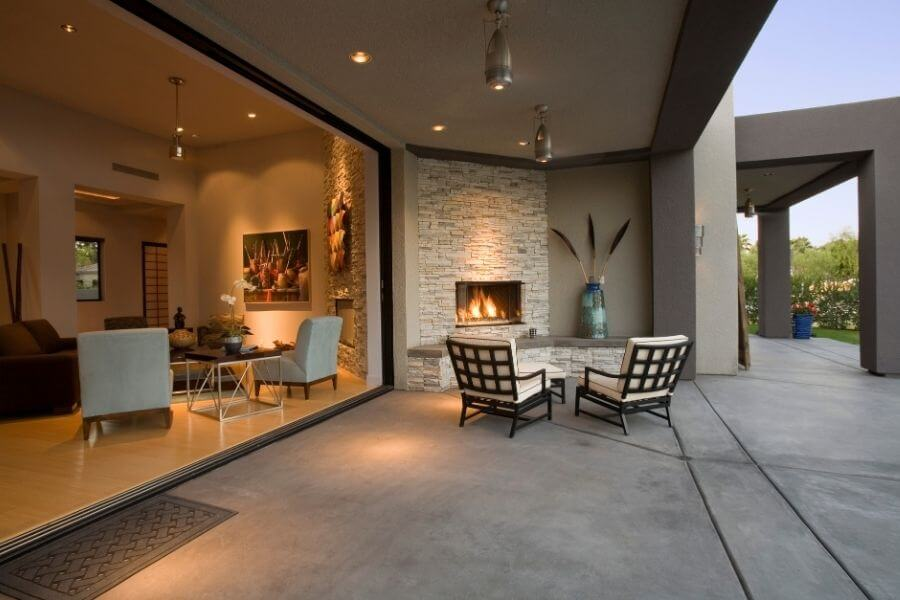 Outdoor fireplace ideas: modern fireplace with a shelf