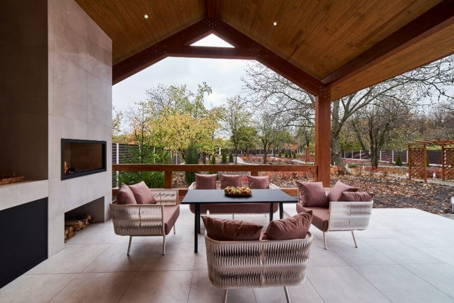 modern outdoor fireplace and patio