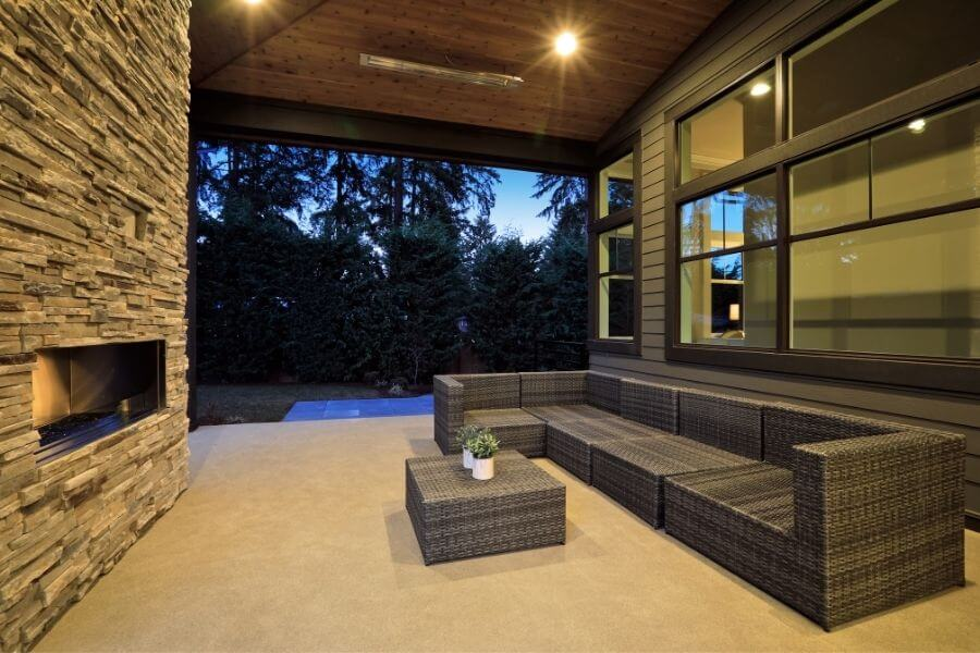 modern outdoor fireplace stone