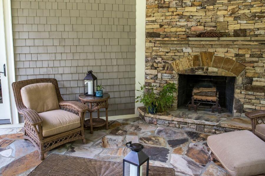 stone fireplace patio
