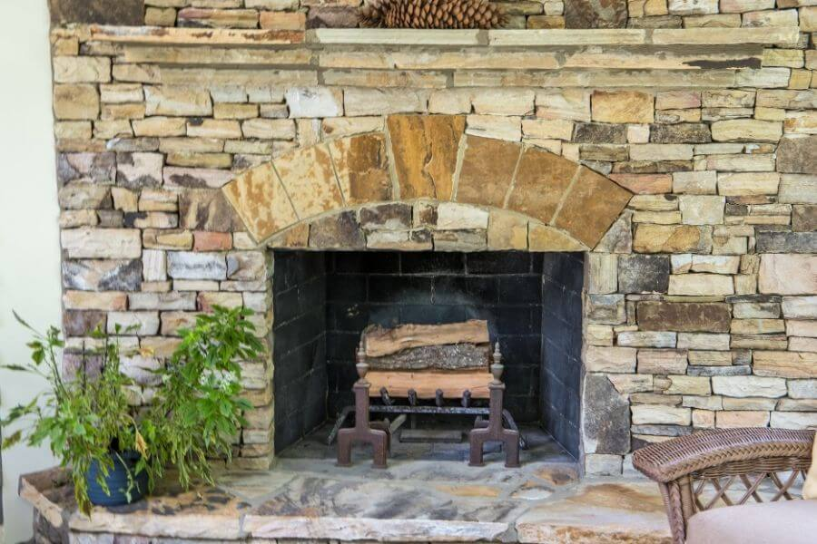 stone fireplace wood