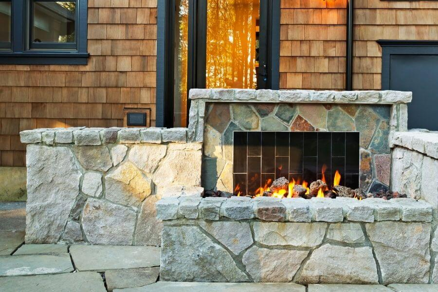 stone outdoor fireplace simple