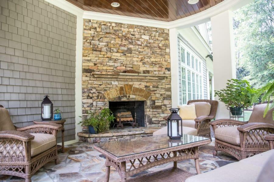 stone outdoor fireplace wall