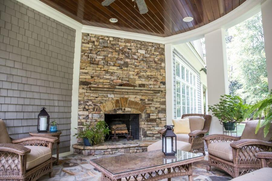 stone wall outdoor fireplace