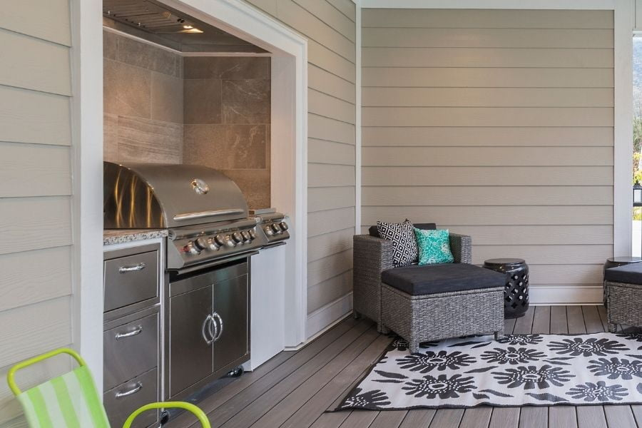 A built-in small outdoor kitchen