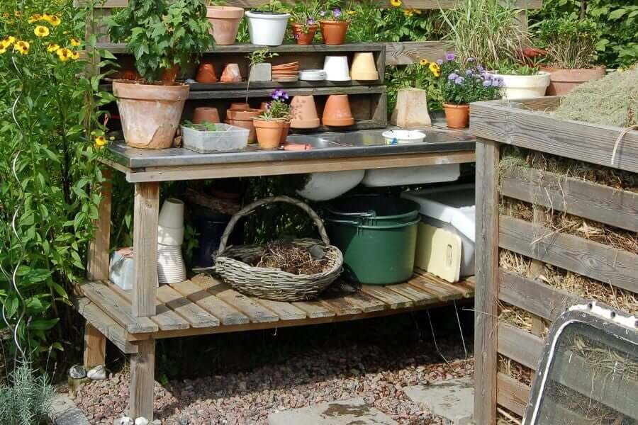 potting bench with a double basind outdoor sink ideas