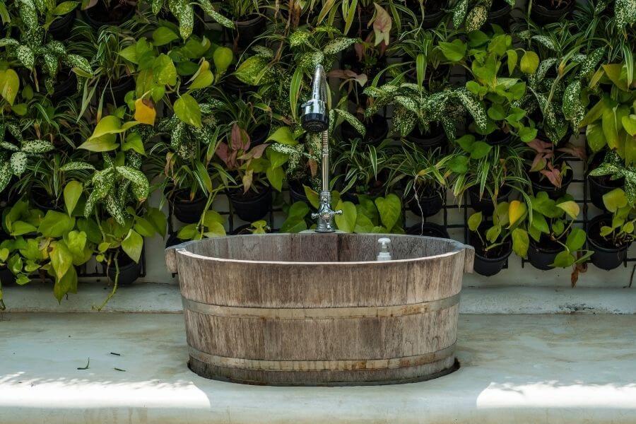 outdoor sink ideas wooden
