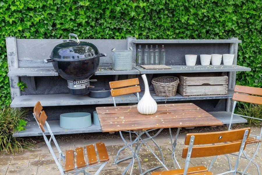 Concrete small outdoor kitchen
