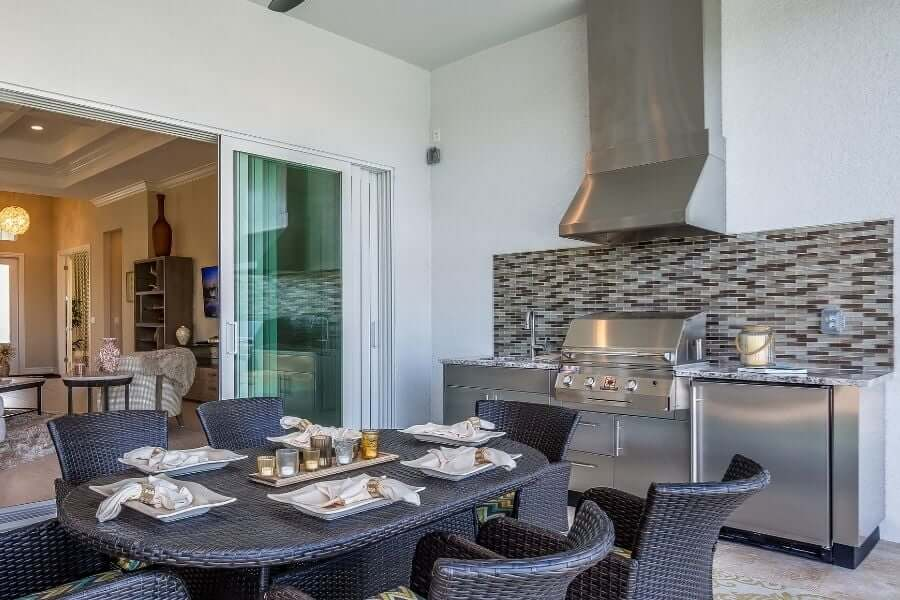 Stainless steel small outdoor kitchen with range hood