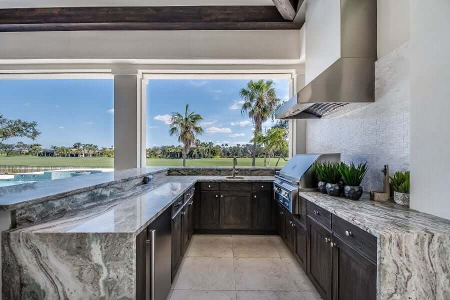 covered outdoor kitchen in a Florida room