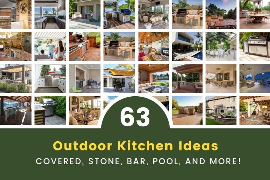 outdoor kitchen ideas covered stone bar  pool