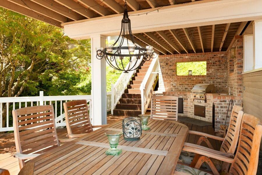 Rustic outdoor kitchen on the deck